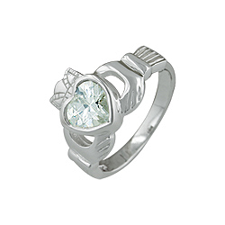 Sterling Silver Claddagh Ring with Cubic Zirconia Heart