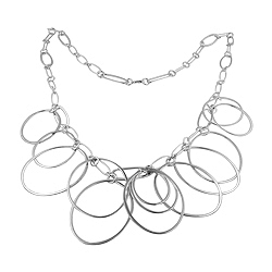 Sterling Silver Dangling Ovals Necklace