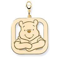 14K Gold-Plated Silver Disney Winnie The Pooh Lobster Clasp Charm
