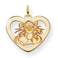14K Gold-Plated Silver Disney Tigger Heart Charm