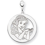 Sterling Silver Disney Snow White Round Lobster Clasp Charm