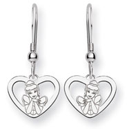 Sterling Silver Disney Cinderella Heart Dangle Wire Earrings