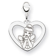 Sterling Silver Disney Cinderella Heart Lobster Clasp Charm