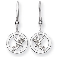 Sterling Silver Disney Tinker Bell Round Dangle Wire Earrings