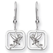 Sterling Silver Disney Tinker Bell Square Dangle Wire Earrings