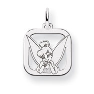 Sterling Silver Disney Tinker Bell Square Charm