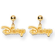 14K Gold-Plated Silver Disney Logo Dangle Post Earrings
