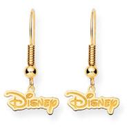 14K Gold-Plated Silver Disney Logo Dangle Wire Earrings