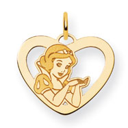 14K Gold-Plated Silver Disney Snow White Heart Charm