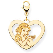 14K Gold-Plated Silver Disney Snow White Heart Lobster Clasp Charm