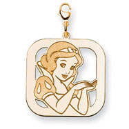 14K Gold-Plated Silver Disney Snow White Square Lobster Clasp Charm