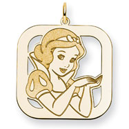 14K Gold-Plated Silver Disney Snow White Square Charm
