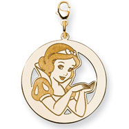 14K Gold-Plated Silver Disney Snow White Round Lobster Clasp Charm