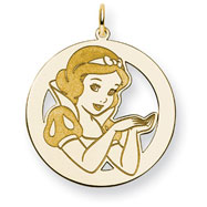 14K Gold-Plated Silver Disney Snow White Round Charm