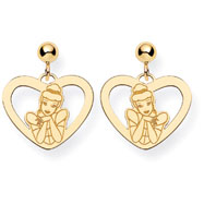 14K Gold-Plated Silver Disney Cinderella Heart Dangle Post Earrings