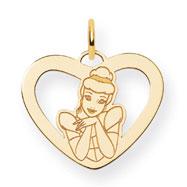 14K Gold-Plated Silver Disney Cinderella Heart Charm