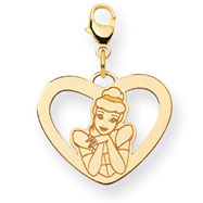14K Gold-Plated Silver Disney Cinderella Heart Lobster Clasp Charm
