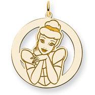 14K Gold-Plated Silver Disney Cinderella Round Charm