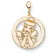 14K Gold-Plated Silver Disney Cinderella Round Lobster Clasp Charm