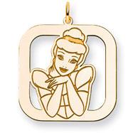 14K Gold-Plated Silver Disney Cinderella Square Charm