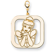 14K Gold-Plated Silver Disney Cinderella Square Lobster Clasp Charm