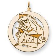 14K Gold-Plated Silver Disney Aurora Round Charm