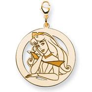 14K Gold-Plated Silver Disney Aurora Round Lobster Clasp Charm