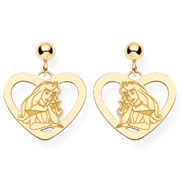 14K Gold-Plated Silver Disney Aurora Heart Dangle Post Earrings