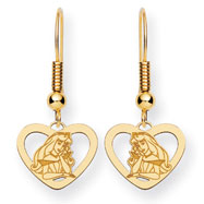 14K Gold-Plated Silver Disney Aurora Heart Dangle Wire Earrings