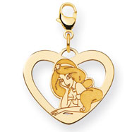 14K Gold-Plated Silver Disney Jasmine Heart Lobster Clasp Charm