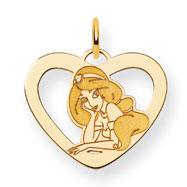 14K Gold-Plated Silver Disney Jasmine Heart Charm