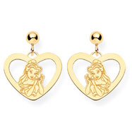 14K Gold-Plated Silver Disney Belle Heart Dangle Post Earrings