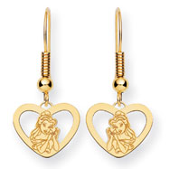 14K Gold-Plated Silver Disney Belle Heart Dangle Wire Earrings