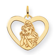 14K Gold-Plated Silver Disney Belle Heart Charm