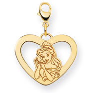 14K Gold-Plated Silver Disney Belle Heart Lobster Clasp Charm