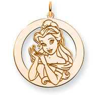 14K Gold-Plated Silver Disney Belle Round Charm