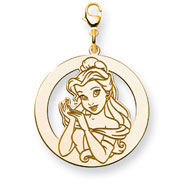 14K Gold-Plated Silver Disney Belle Round Lobster Clasp Charm