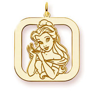 14K Gold-Plated Silver Disney Belle Square Charm