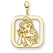 14K Gold-Plated Silver Disney Belle Square Lobster Clasp Charm