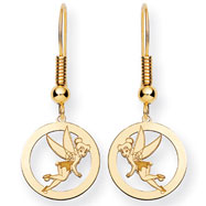 14K Gold-Plated Silver  Disney Tinker Bell Round Dangle Wire Earrings