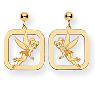 14K Gold-Plated Silver Disney Tinker Bell Square Dangle Post Earrings