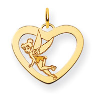 14K Gold-Plated Silver Disney Tinker Bell Heart Charm