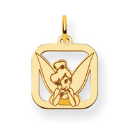 14K Gold-Plated Silver Disney Tinker Bell Square Charm