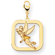 14K Gold-Plated Silver Disney Tinker Bell Square Lobster Clasp Charm