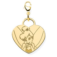 14K Gold-Plated Silver Disney Tinker Bell Heart Lobster Clasp Charm