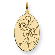 14K Gold-Plated Silver Disney Tinker Bell Oval Charm