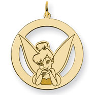 14K Gold-Plated Silver Disney Tinker Bell Round Charm