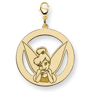 14K Gold-Plated Silver Disney Tinker Bell Round Lobster Clasp Charm