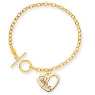 14K Gold Disney Tinker Bell Heart Charm Bracelet