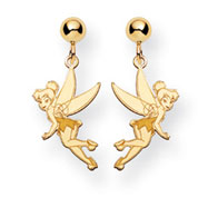 14K Gold Disney Tinker Bell Dangle Post Earrings